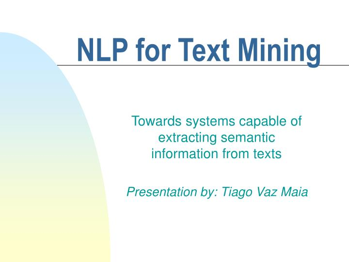 nlp for text mining n.