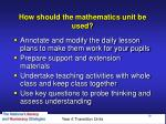 how should the mathematics unit be used
