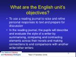 what are the english unit s objectives