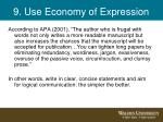 9 use economy of expression