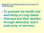mission of veterans health alliance of long island