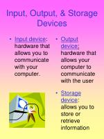 input output storage devices