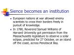 sience becomes an institution