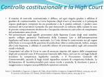 controllo costituzionale e la high court