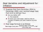 real variables and adjustment for inflation