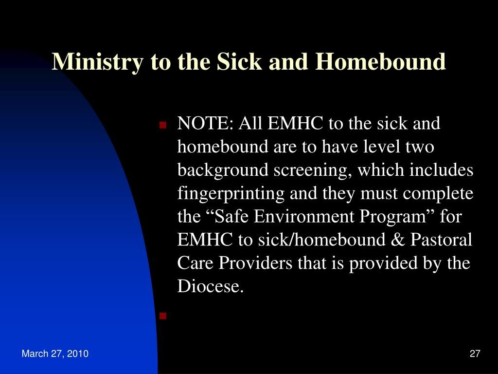 Ministry to the Sick and Homebound