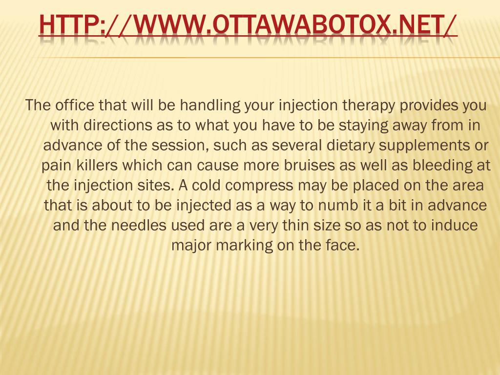 The office that will be handling your injection therapy provides you with directions as to what you have to be staying away from in advance of the session, such as several dietary supplements or pain killers which can cause more bruises as well as bleeding at the injection sites. A cold compress may be placed on the area that is about to be injected as a way to numb it a bit in advance and the needles used are a very thin size so as not to induce major marking on the face.