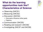 what do the learning opportunities look like characteristics of science