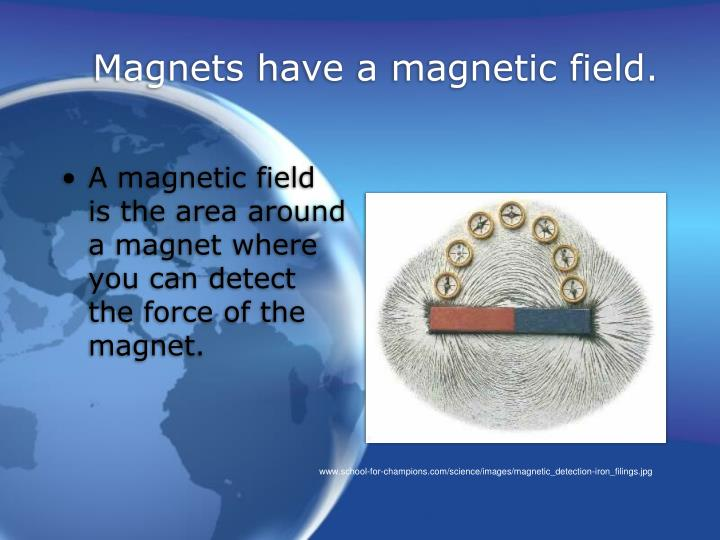 Magnets have a magnetic field.