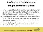 professional development budget line descriptions