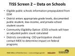 tiss screen 2 data on schools