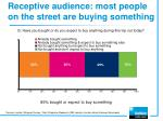 receptive audience most people on the street are buying something