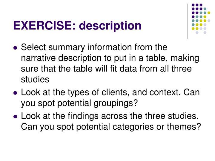EXERCISE: description