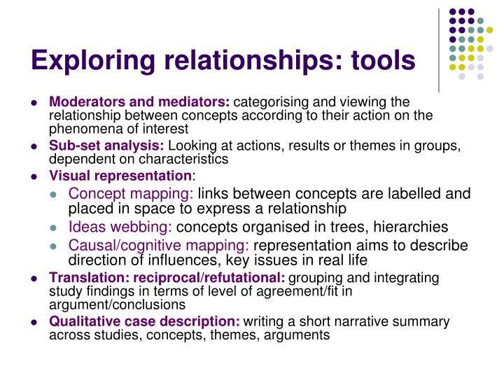 Exploring relationships: tools