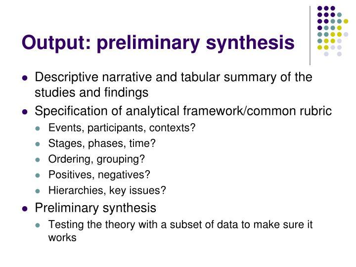 Output: preliminary synthesis