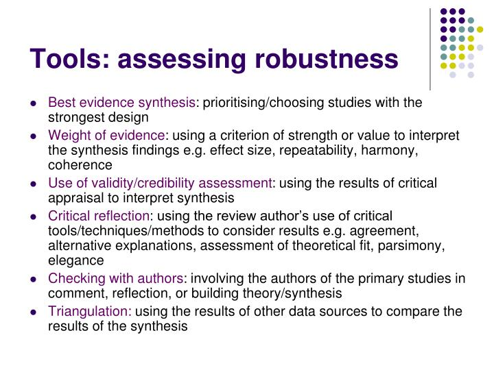 Tools: assessing robustness