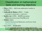 classification of mathematical tasks and learning objectives