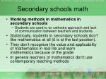 secondary schools math