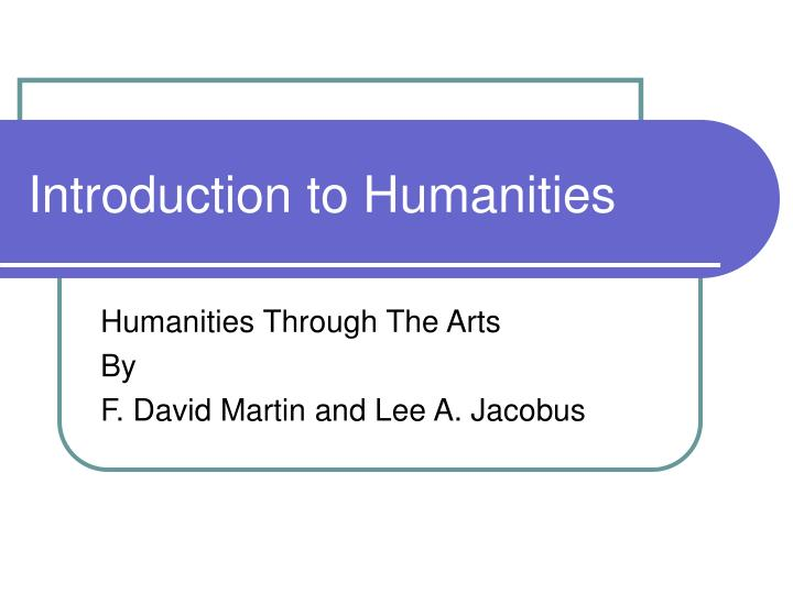 introduction to humanities n.