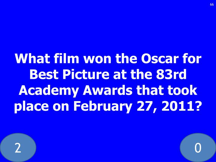 What film won the Oscar for Best Picture at the 83rd Academy Awards that took place on February 27, 2011?