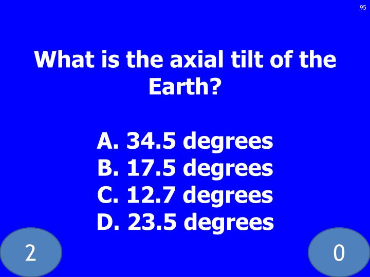 What is the axial tilt of the Earth?
