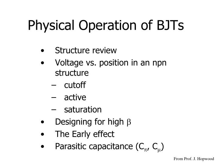 physical operation of bjts n.