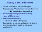 primary b cell deficiencies