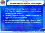 r d commercializing in house technologies