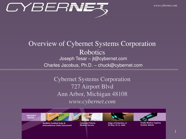 overview of cybernet systems corporation robotics n.
