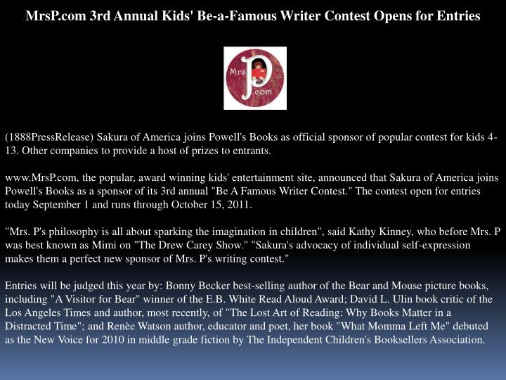 MrsP.com 3rd Annual Kids' Be-a-Famous Writer Contest Opens for Entries