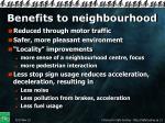 benefits to neighbourhood
