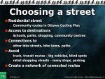 choosing a street
