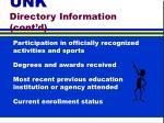 unk directory information cont d