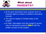 what about parents
