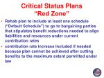 critical status plans red zone3