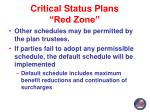 critical status plans red zone4