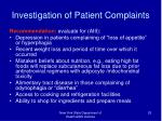 investigation of patient complaints