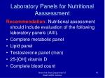laboratory panels for nutritional aassessment