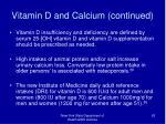 vitamin d and calcium continued