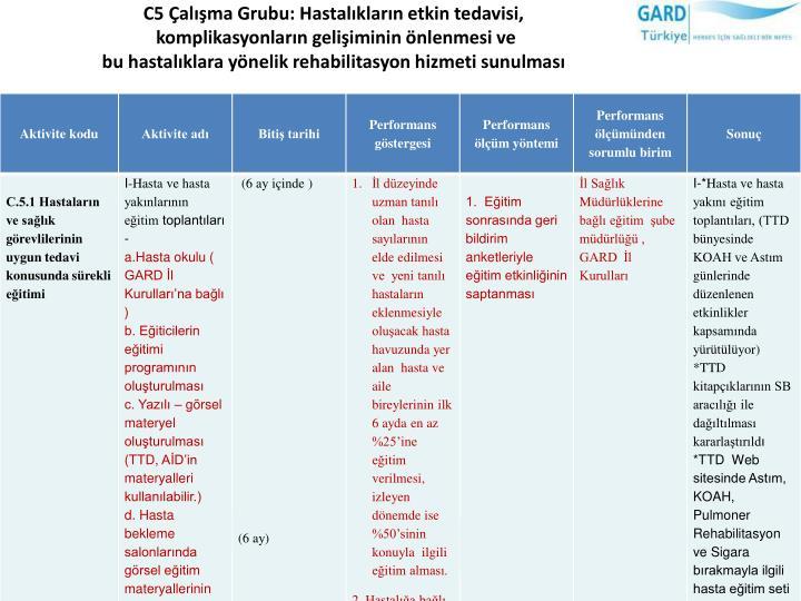 C5 Çalışma Grubu: Hastalıkların etkin tedavisi,