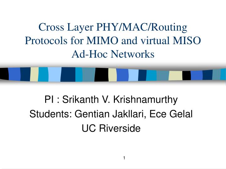 cross layer phy mac routing protocols for mimo and virtual miso ad hoc networks n.