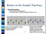 routes in the sample topology