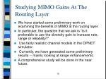 studying mimo gains at the routing layer