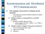 synchronization and distributed st communications