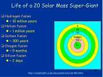 life of a 20 solar mass super giant