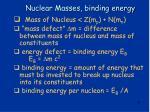 nuclear masses binding energy