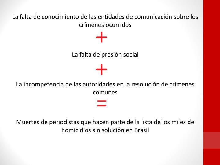 La falta de conocimiento de las entidades de comunicación sobre los crímenes ocurridos