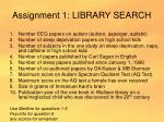 assignment 1 library search