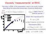 viscosity measurements at rhic