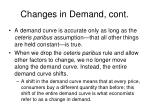 changes in demand cont